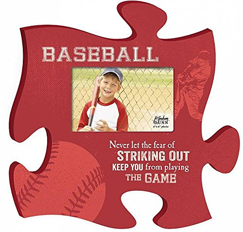 Baseball Play the Game 4x6 Photo Frame Inspirational Puzzle Piece Wall Art Plaque