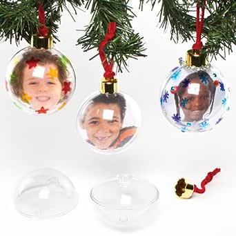 Baker Ross- Bolas de fotos grandes transparentes para el árbol de Navidad, arte creativo y manualidades para niños para hacer, personalizar y decorar, Color crema, paquete de 4: Amazon.es: Amazon.es