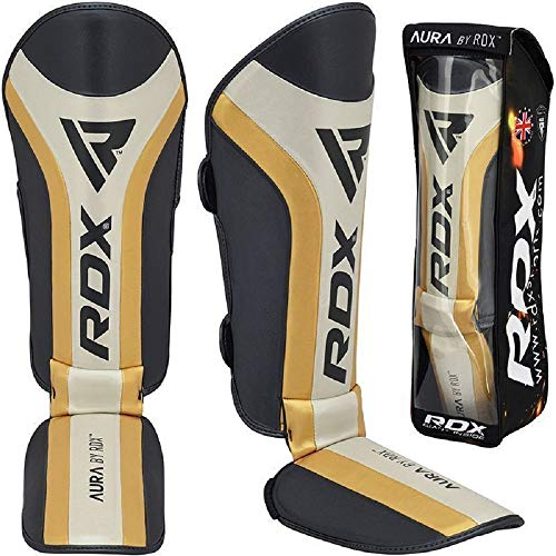 RDX Shin Guards for Kickboxing, MMA, Muay Thai Training and Fighting, Maya Hide Leather Instep Leg Protector Foam Pads…