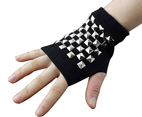 Women's Cotton Metal Rivet Punk Studs Motorcycle Fingerless Half Finger Gloves by crystalonly (Image #4)