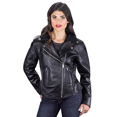 Viking Cycle Women's Cruise Leather Jacket, Black, Medium