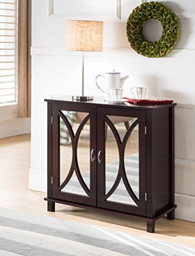Espresso Wood Accent Entryway Display Console Table with Mirrored Door Storage (Mirrored Sofa Table)