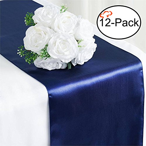 Tiger Chef 12-Pack Navy Blue 12 x 108 inches Long Satin Table Runner for Wedding, Table Runners fit Rectange and Round Table Decorations for Birthday Parties, Banquets, Graduations, Engagements ()