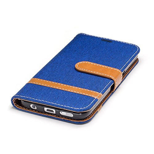Avec Königsblau Cuir Pour En Couverture Pliable Protection Étui Stand Samsung Cartes Denim Cas Portefeuille Fentes Case De Hozor Fonction Case S7 Téléphone Galaxy Bookstyle Mobile Flip wPWqY4g