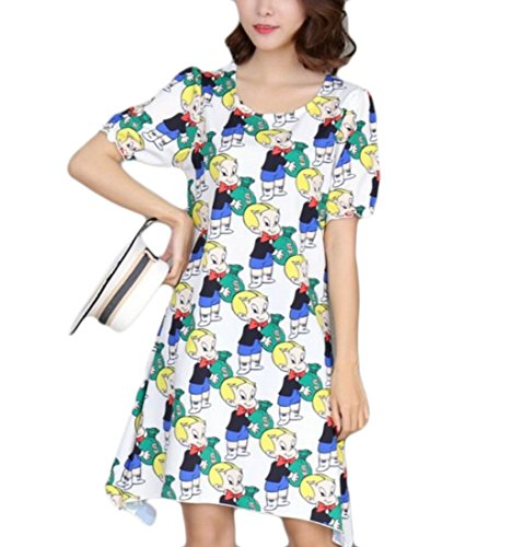 Domple Summer Short Women's Swing Irregular Mini Floral Sleeve Dress 8 r1Hr5qxwU