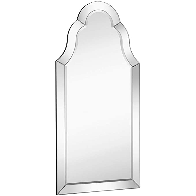 Hamilton Hills Designer Mirror Framed Vanity Mirror | Tall Rounded Top Mirrored Edge Premium Silver Backed Glass Panel for Hanging in a Vanity, Closet, Entry or Bathroom (21