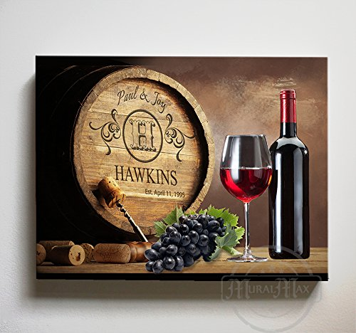 MuralMax Personalized Napa Valley Wine Barrel Wall Decor - Stretched Canvas Memorable Gifts for Living Room, Dining Room & Bedrooms - Choose From Designer Colors & Sizes - Size-30x24 Anniversary Wine Art
