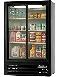 Beverage-Air LV17-1-B-LED LumaVue Two Section Refrigerated Sliding Glass Door Merchandiser with LED Lighting 17.5 cu.ft. Capacity Black Exterior and Bottom Mounted