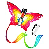 """Easy Fly Kites, Rainbow Butterfly Kites for Kids and Adult, One of The Best Outdoor Games and Activities, with 165"""" of Line and Handle - Great Beginner, Amateur Kite (Red)"""