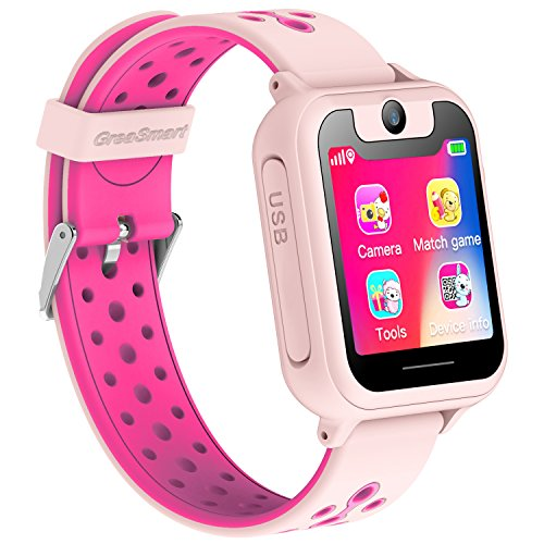 Kids Smartwatch for Boys Girls - GPS Tracker Phone Remote Monitor Camera Game Anti Lost Alarm Clock App Control by Parents for Children, Android iPhone (01 S6 Pink)