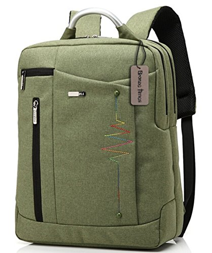 Bronze Times (TM) Premium 14-inch Shockproof Canvas Laptop Backpack Travel Bag (Green)