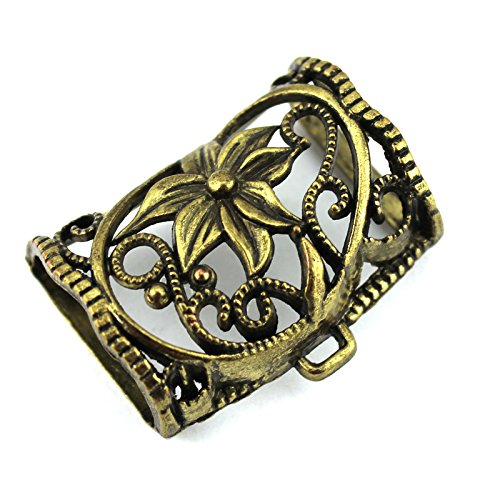 Pendant Scarf Antique Bronze Alloy Flower Style Pendant Scarf Slide Tube Bails (Pack of 12) ()