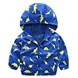Little Boys Rain Jacket Hoodie Zip Up Dinosaur Coat Toddler Hood Sport Outerwear