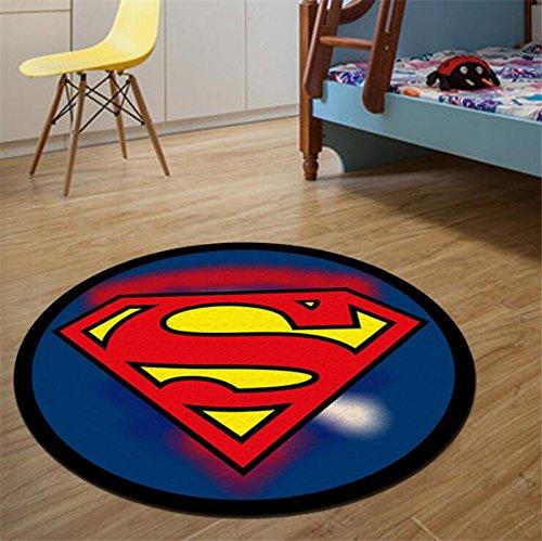 CHN 23 Inch Blue Superman Floor Mat, Red Superhero Floor Rug Supermans Emblem Superman Logo Hero Action Movie Themed Round Mat Anti Slip Rug Portrait Pattern Printed Design Multi Colored, Polyester