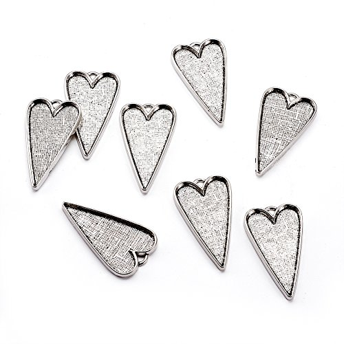 Pandahall 50pcs Tibetan Style Alloy Heart Large Pendant Cabochon Bezel Settings Antique Silver Lead Free and Cadmium Free