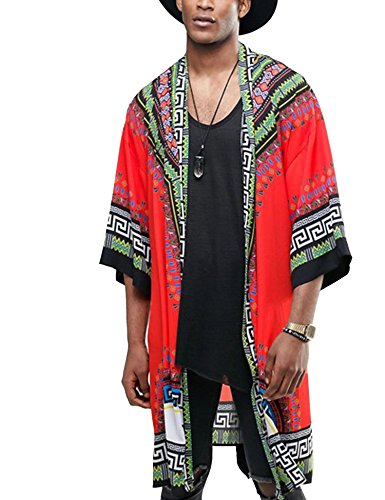 COOFANDY Mens African Dashiki Printed Ruffle Shawl Collar Cardigan Lightweight Long Length Drape Cape,Orange,XX-Large by COOFANDY