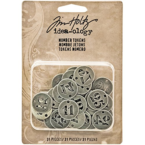 Charm Tokens Metal - Tim Holtz Idea-ology Metal Number Tokens 31/Pack, 3/4 Inch Each, Antique Nickel (TH93244)