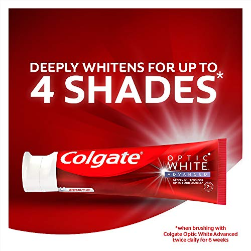 Colgate Optic White Advanced Teeth Whitening Toothpaste with Fluoride, 2% Hydrogen Peroxide, Sparkling White – 3.2 Ounce…