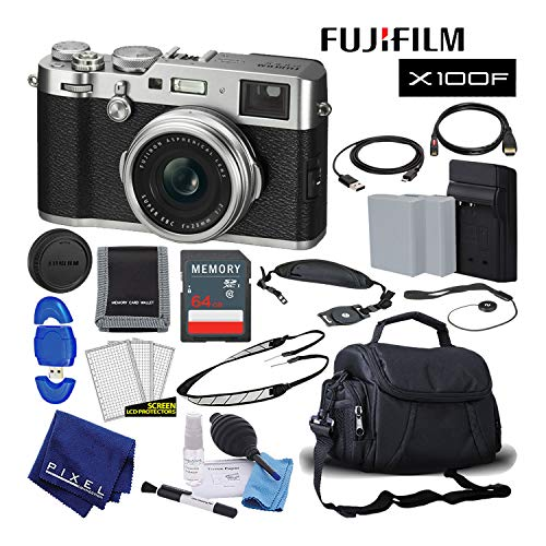 Fujifilm X100F X-Series 24.3 MP Point & Shoot Digital Camera (Silver) with Cleaning Kit, 64GB Card and More Mid-Range Bundle