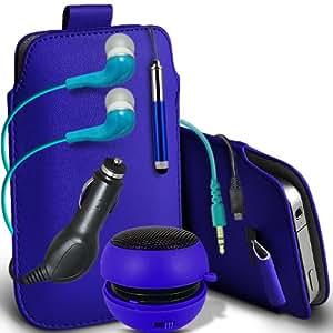 Fone-Case Motorola RAZR XT890 i Protective PU Leather Slip cuerda del tirón en la bolsa del lanzamiento rápido con Mini capacitiva lápiz óptico retráctil, 3.5mm en auriculares del oído, Mini recargable altavoz de la cápsula, 12v Micro USB Cargador de Coche y Protector de pantalla de la Guardia (azul)