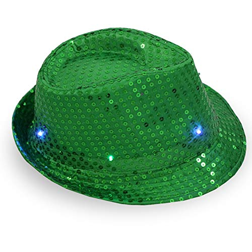 ajzdnzvr 1 Pc Women Men Led Light Up Jazz Hat, Adult Glitter Sequins Hat Costume Party Cap for Dancing Party with 9 Flashing LED Lamps (Green)