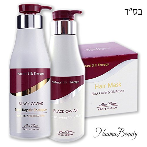 Mon Platin Black Caviar Natural Silk Therapy Ultimate Set (3 items) : Total Repair Shampoo/Total Reviving Conditioner/Black Caviar & Silk Protein Hair Mask (17oz/500ml each)