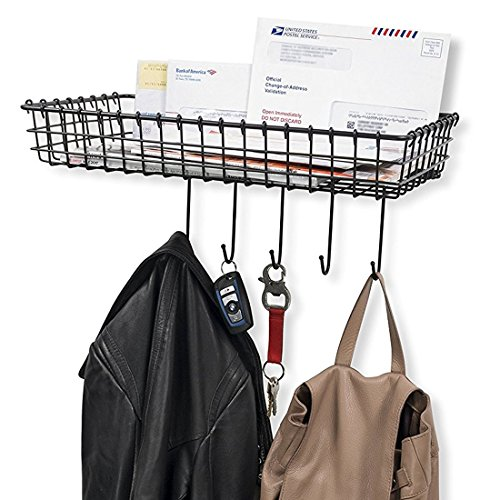 WALL35 Sturdy Wire Organizer Bin Storage with 5 Hooks Wall Mountable Coat Rack Key Hooks for Foyer or Entryway in - Mail Order Sunglasses
