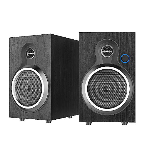 Beatife Computer Speakers, 2.0 Stereo 10W Wooden Wired Multimedia Speaker, USB Powered PC Speakers with AUX and LED Volume Knob, Anti-Slip Mat for Laptop/Desktop/Phone/TV/Monitor/Projectors