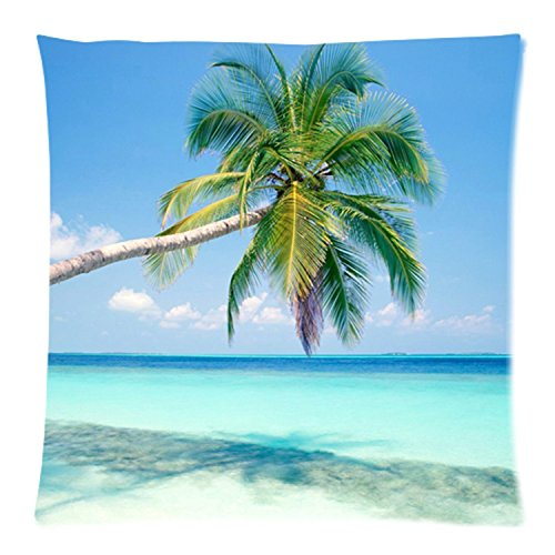 Sandy Tropical Paradise Beach with Palm Trees and the Sea Ocean Cushion Case - Throw Pillow Case Decor Cushion Covers Square with Hidden Zipper Closure - 18x18 inches, Twin-sided Print