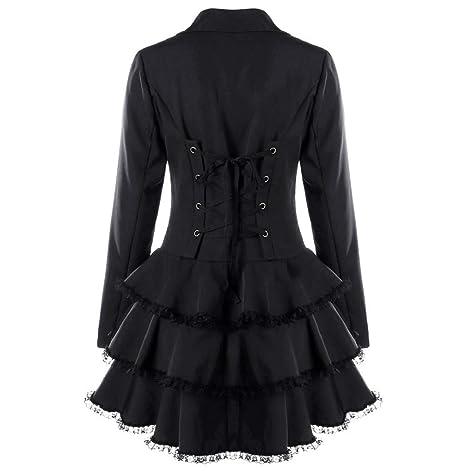 FNKDOR Manteau Femme Automne Hiver Vintage Punk Gothique Noble Veste Mode  Chic Loisir Ourlet Asymmetric Classic Machaon Trench Coat  Amazon.fr   Vêtements et ... ddee83dd55f