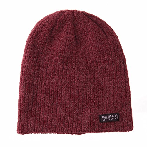 WITHMOONS Gorros de Punto Beanie Hat Ribbed Knit Slouchy Soft Fabric Retro Patch CR5830 Rojo