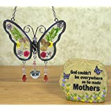Mother's Day Gift Set - Mom Butterfly Suncatcher - Mom Message Stone Rock with Butterflies & Flowers Decorations and Mom Poem - Gifts for Her - Birthday Gifts for Mom - Mother-in-law - Grandama