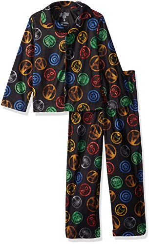 Marvel Boys' Big Avengers 2-Piece Pajama Coat Set, Super Steel, 8 ()