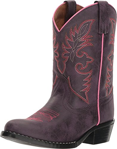 Laredo Western Boots Girls Faux Leather Straps 2.5 Child Purple LC2457