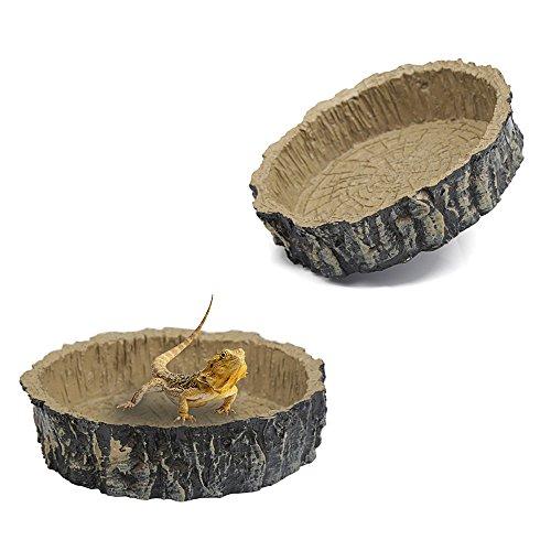 ZUINIUBI Round Imitation Bark Reptile Tortoise Water Dish Food Bowl Amphibians Feeding Dish