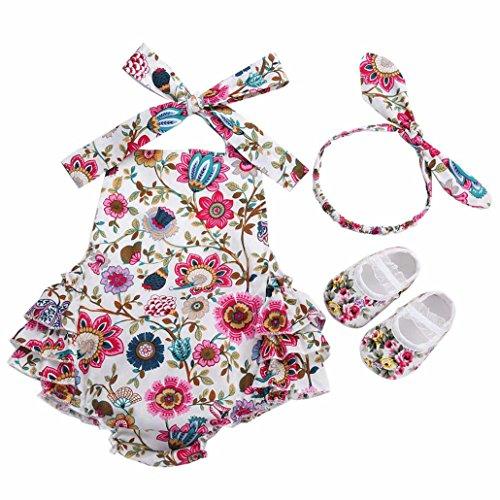 Clothes Set Summer Photography;Cotton Newborn Clothing Baby Girl Romper Headband Shoes 3pcs Set -