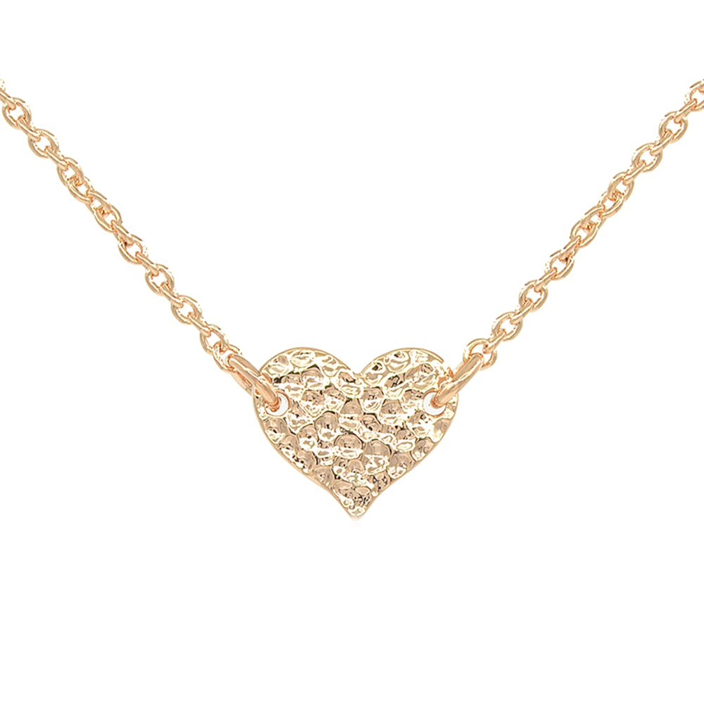 Small Hammered Gold Heart Choker Necklace Adjustable 12-16 Inch 14K Rose Gold Plated