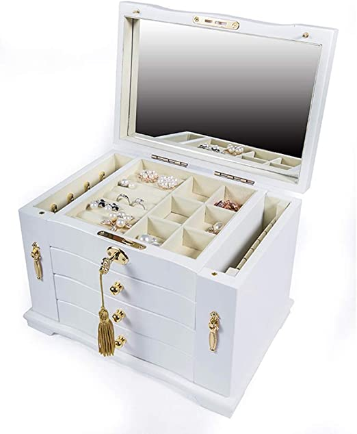 Caja de joyería bloqueada Caja de almacenamiento de escritorio ...