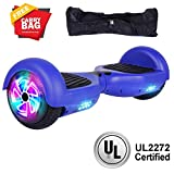 Benedi Hoverboard Two-Wheel Self Balancing Scooter UL2272 Certified Hover Board with 6.5' Flash Wheels Colorful LED Lights (Blue)