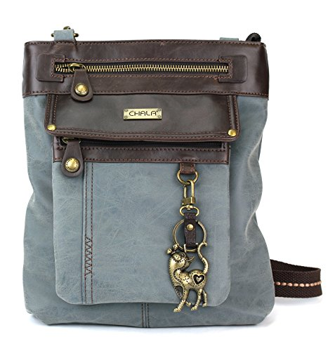 Chala GEMINI Crossbody PU Leather Messenger Bag Indigo - Slim Cat
