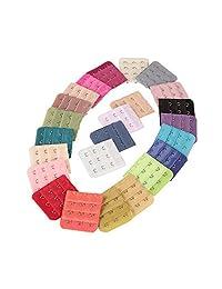 20 Pcs Assorted Colors Women 3-Hook 3 Rows Spacing Bra Extender Strap Adjust Bra Clip