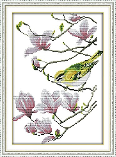 (CaptainCrafts Hot New Cross Stitch Kits Needlecrafts Patterns Counted Embroidery Kit - Bird With Pink Magnolia Flowers (WHITE))