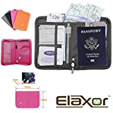 Elaxor™ Cute High Quality Multi-Functional Compact Zippered Passport, cards, cash and Travel Document Organizer Wallet Case (Pink)