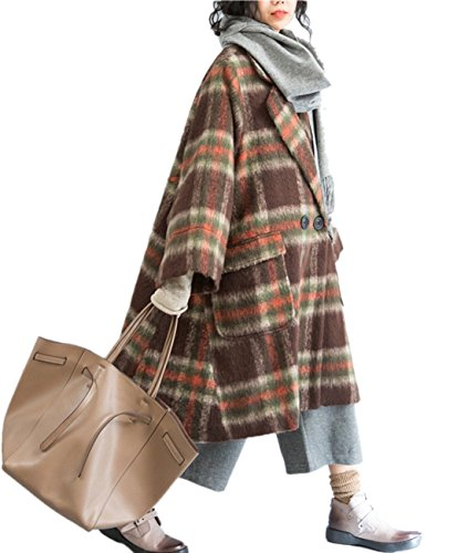 Brown Tweed Suit Skirt (YESNO QH3 Women Casual Loose Tweed Chunky Wool Jacket Checked A Skirt Long Wide Sleeve/Pockets,Coffee,One Size)