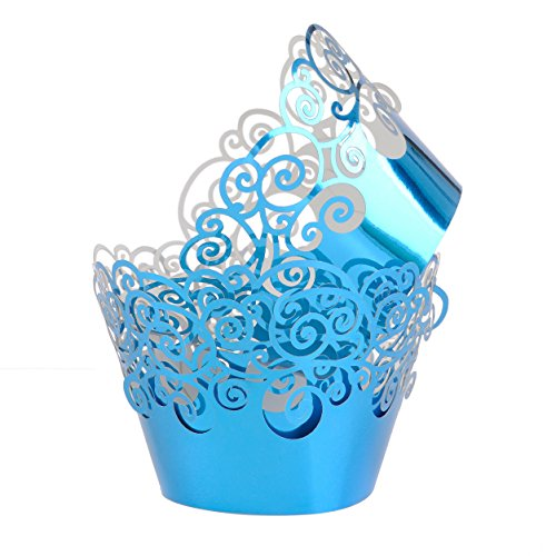 Cupcake Wrappers Filigree Artistic Muffin Case Cupcake Paper Cup Liners Little Vine Lace Laser Cupcake Wrappers for Wedding Party Birthday Decoration (Mirror - Laser Mirror Cut