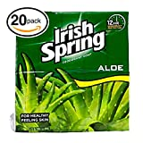 (PACK OF 20 BARS) Irish Spring ALOE SCENT Bar Soap for Men & Women. 12-HOUR ODOR/DEODORANT PROTECTION! For Healthy Feeling Skin. Great for Hands, Face & Body! (20 Bars, 3.75oz Each Bar) Review