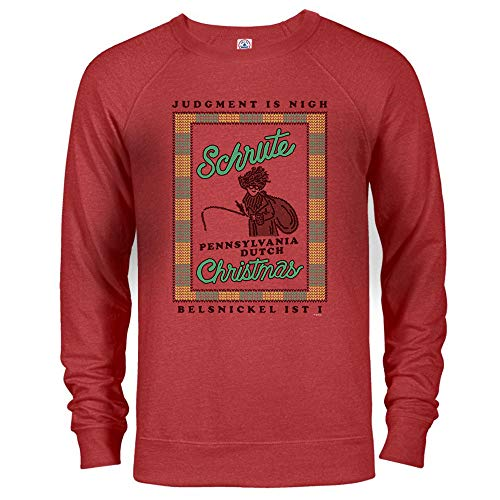 NBC The Office Dwight Belsnickel Ugly Christmas Sweatshirt - Red Heather - Large (Office Christmas Pennsylvania Dutch)