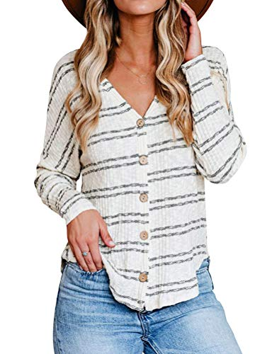 MYMORE Women V Neck Stripes Button Down Cardigan Shirts Loose Fit Casual Tops