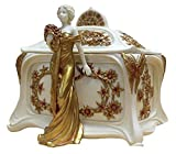 6 Inch White and Gold Hand Painted Art Nouveau Lady Jewelry Box
