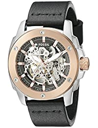 Fossil Men's ME3082 Modern Machine Automatic Leather Watch, Black
